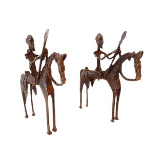 African Dogon Bronze Horseman Mali - Pair