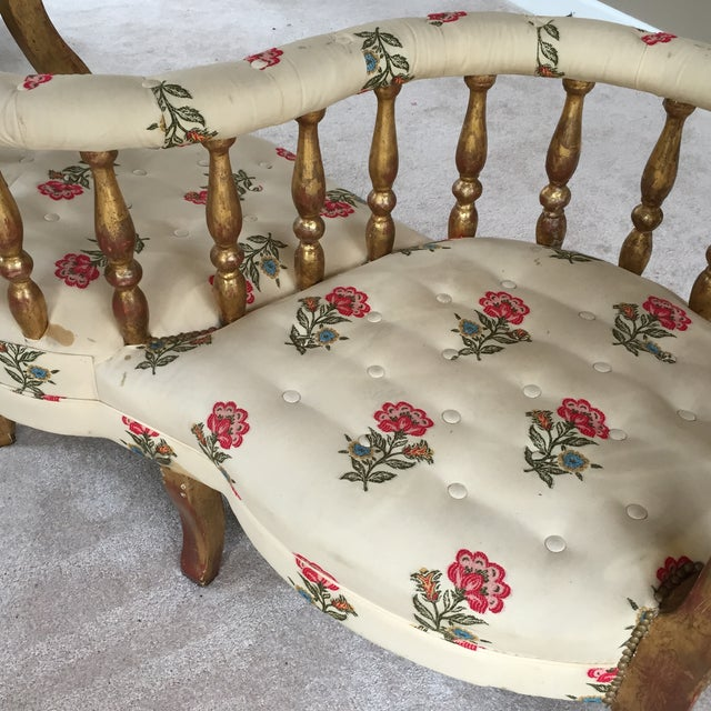 French Tete a Tete Gilded Wood Tufted Sofa - Image 4 of 10