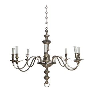 French Eight Light Silver Metal Chandelier