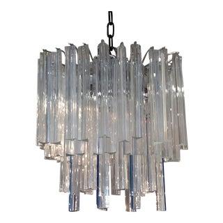MID CENTURY MODERN Italian VENETIAN CRYSTAL Glass VENINI MURANO CHANDELIER