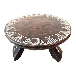 Old African Baule Low Stool w/ Carved Motif