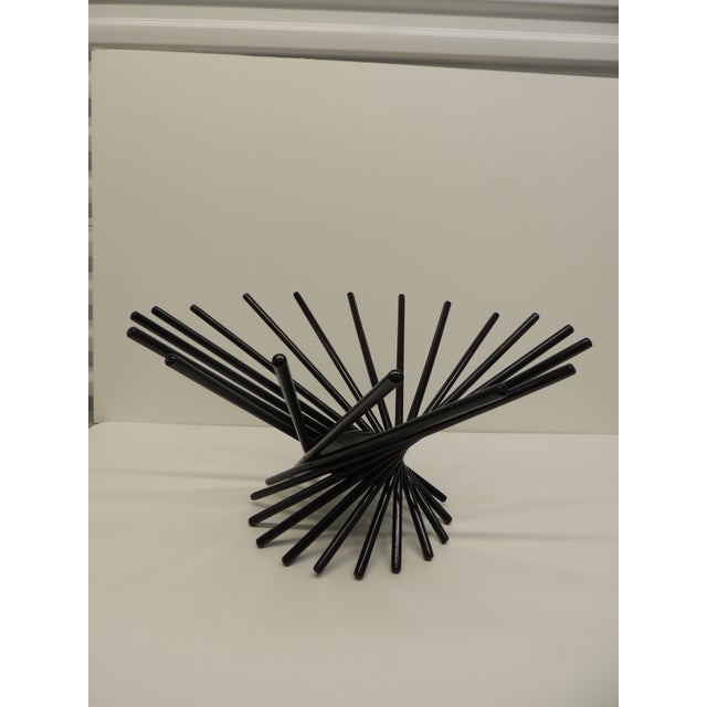 Mid Century Modern Folding Wood Black Fruit Basket - Image 5 of 5