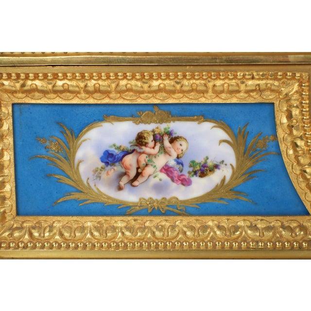 Image of Gilt Bronze & Porcelain Mantel Clock