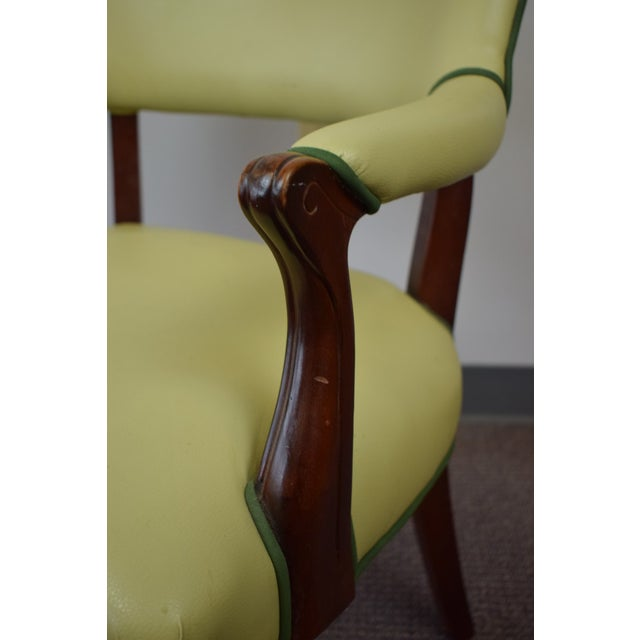 Elegant Set of (4) Celedon Green Leather W Hunter Green Piping Upholstered Bergere Chairs - Image 7 of 10