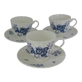 Royal Worcester Blue & White Cups and Saucers - 6 Pieces