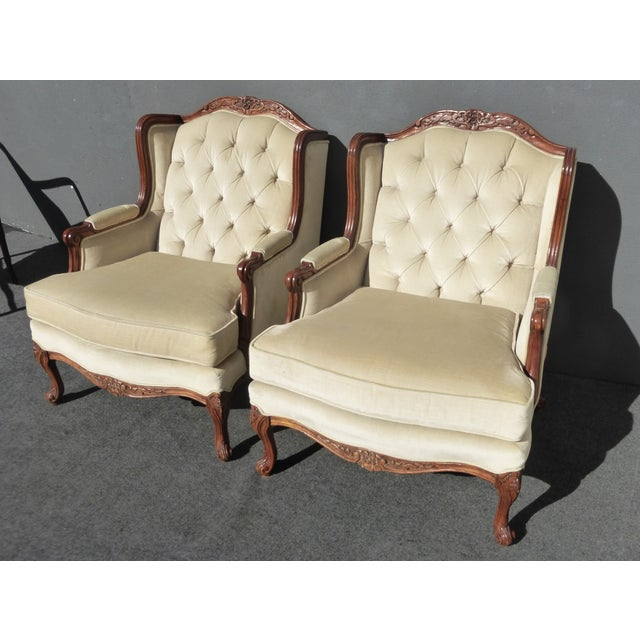 Pair of Bernhardt Tufted Wing Back Velvet Chairs - Image 5 of 11