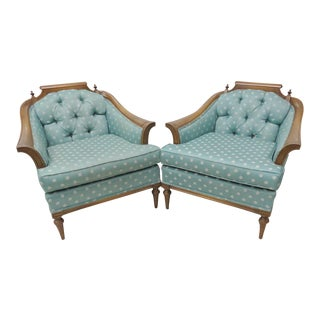 Mid-Century Modern Blue Lounge Chairs - A Pair