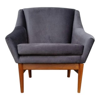 """Greta"" Grey Velvet Danish Style Lounge Chairs"