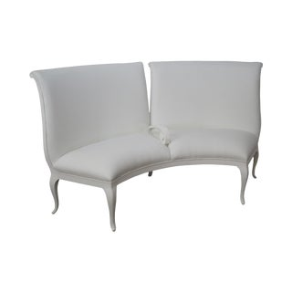 French White Leather Demilune Settee