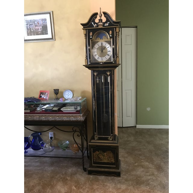 Asian Black Grandfather Clock Hand Painted With Pearl Inlay - Image 2 of 11