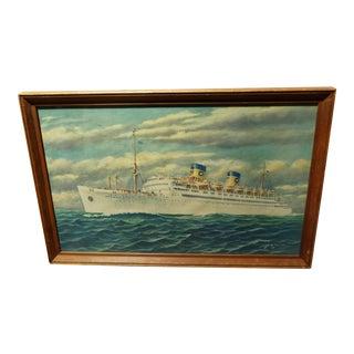 Vintage Print of Atlantic Cruiseliner
