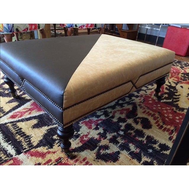 Image of Custom Two Tone Faux Leather Rectangular Ottoman