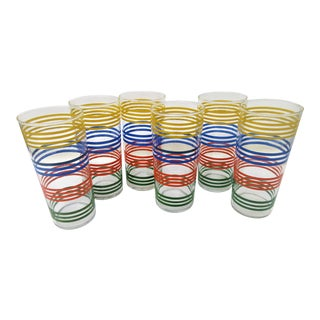Vintage Tall Stripe Drinking Glasses – Set of 6
