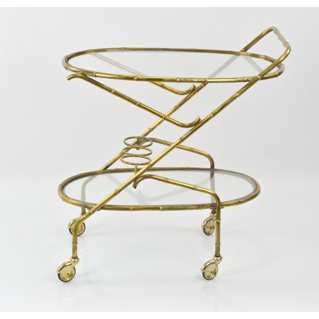 Vintage French Brass Bamboo Style Bar Cart - Image 3 of 6