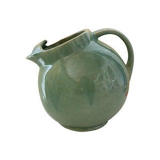 Vintage Aqua Ceramic Ball Pitcher