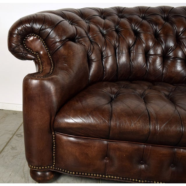 Vintage Chesterfield Brown Leather Sofa Chairish