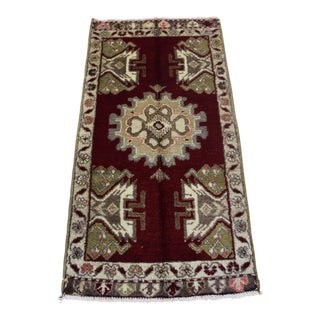 "Vintage Turkish Oushak Doormat Rug - 1'10"" X 3'8"""