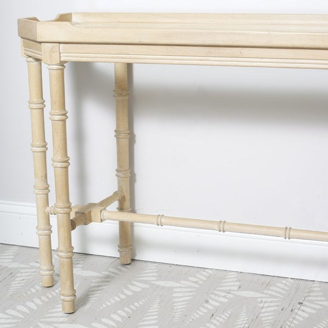 Faux Bamboo Console With Beveled Glass Top - Image 3 of 5