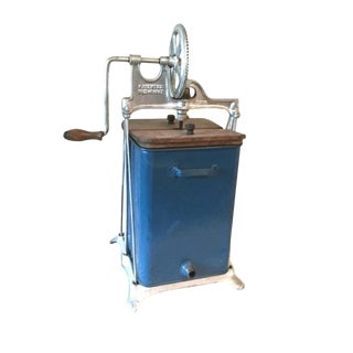 Circa 1917 Blue Metal Dazey Butter Churn