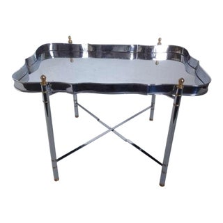 Jansen Chrome and Brass Tray Table