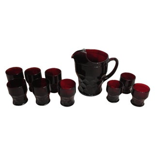 Anchor Hocking Ruby Red Pitcher and Glassware Set