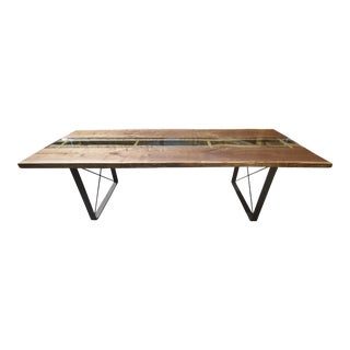Claro Walnut Slab Dining Table With Solid Brass Inlays + Glass River Center Display