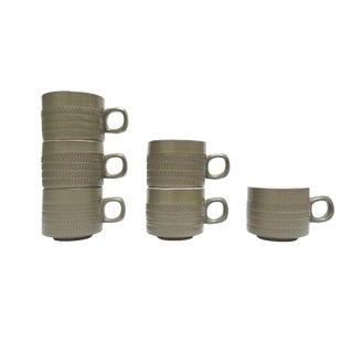 Modern Green Chevron Mugs - Set of 6 Denby England Mugs