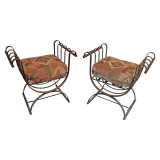 Vintage Iron Stools - A Pair