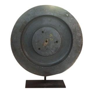 Antique Industrial Wood Wheel Sculpture