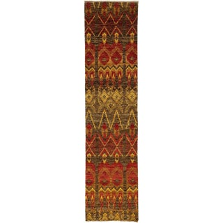 """Ikat, Hand Knotted Runner Rug - 2' 7"""" X 10' 6"""""""