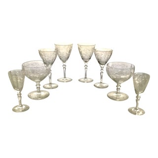 Art Deco Etched Crystal Glasses - Set of 8