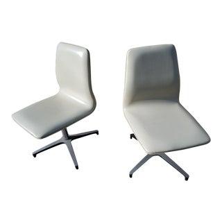 Chromcraft Arne Jacobsen for Fritz Hansen Style Vinyl Swivel Chairs - A Pair
