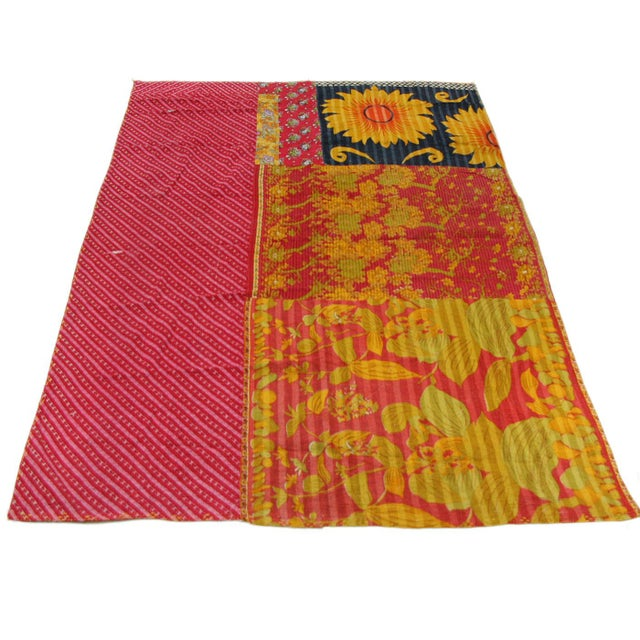 Pinks with Yellow Vintage Kantha Quilt - Image 3 of 3