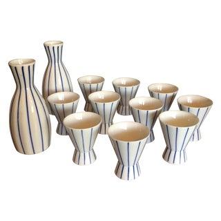 Blue & White Striped Sake Set - 12 Pieces