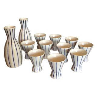 Blue & White Striped Sake Set - 12 Pieces