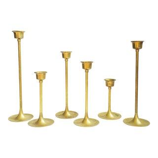 Vintage Graduated Brass Candlestick Holders - 6