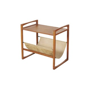 Danish Suede Sling Magazine Rack