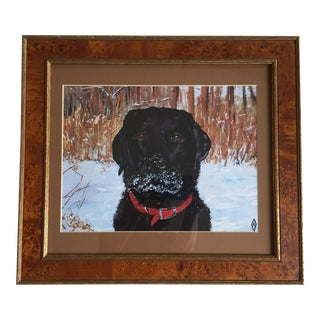 Contemporary Black Lab Dog Print by Judy Henn
