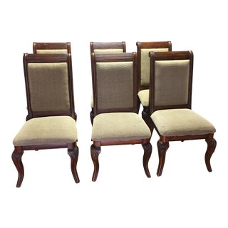 Lyre-Back Wooden Dining Chairs - Set of 8