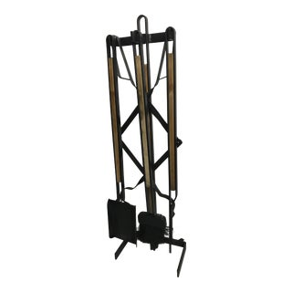 Wrought Iron & Wood Fire Place Tools
