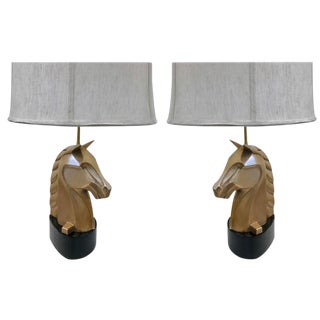 Pair of French Bronze Horse Lamps