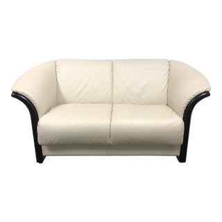 Ekornes Eldorado White Leather Loveseat
