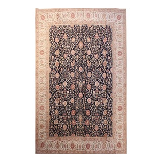 Hand Knotted Silk & Wool Navy Persian Tabriz Rug - 8′ × 10′