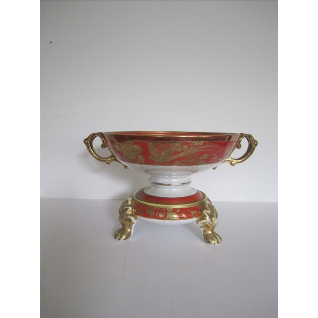 Vintage White, Orange and Gold Tazza with Paw Feet - Image 4 of 11
