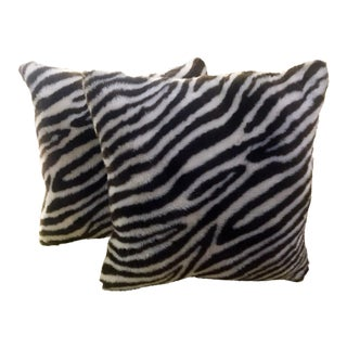 Faux Fur Zebra Pattern Throw Pillows - A Pair