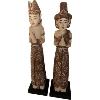 Indonesian Balinese Couple Statues - A Pair