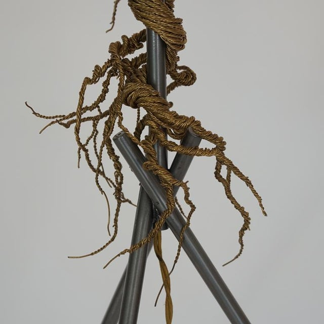 Twisted Brass Wire / Tripod Floor Lamp - Image 4 of 6