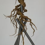 Image of Twisted Brass Wire / Tripod Floor Lamp