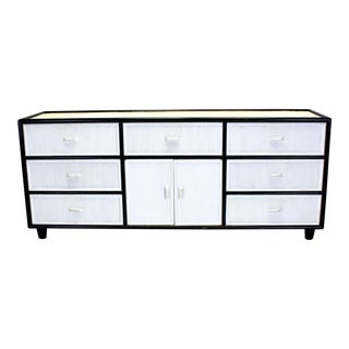 Mid-Century Pencil Reed Black And White Dresser