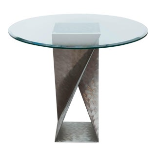 Modern Engine Turned Stainless Steel Center Table